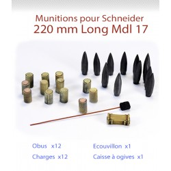 Munitions pour canon 220mm Long Schneider Mle 17