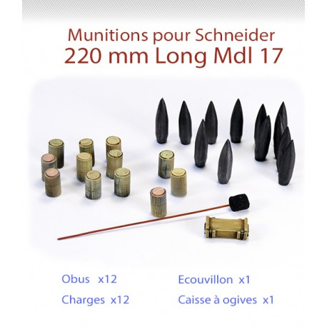 Munitions pour canon 220mm Long Schneider Mle 17