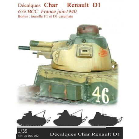 Décalques  Char Renault D1