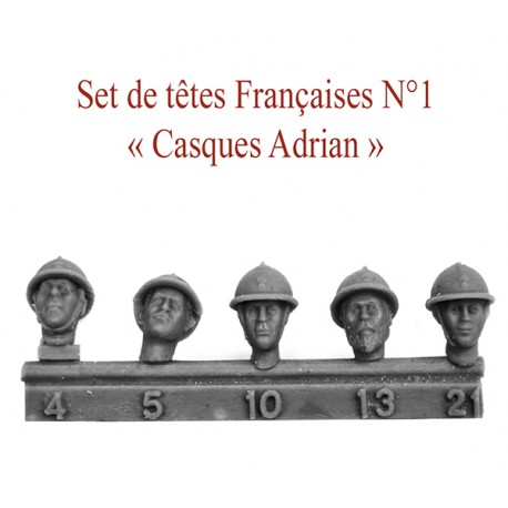 """Set de têtes Françaises N°1""""Casques Adrian"""""""